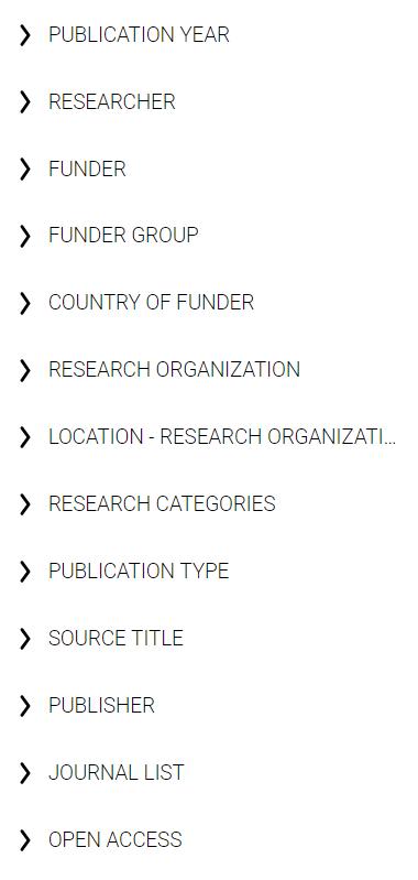 Opciones de filtrado de la página de resultados de Dimensions