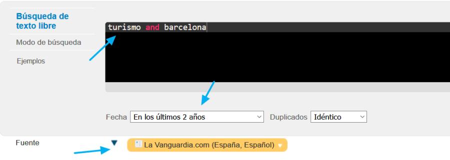 Ejemplo de búsqueda en Factiva con uso de fuentes