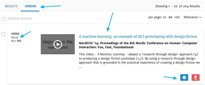 Registro correspondiente a un vídeo