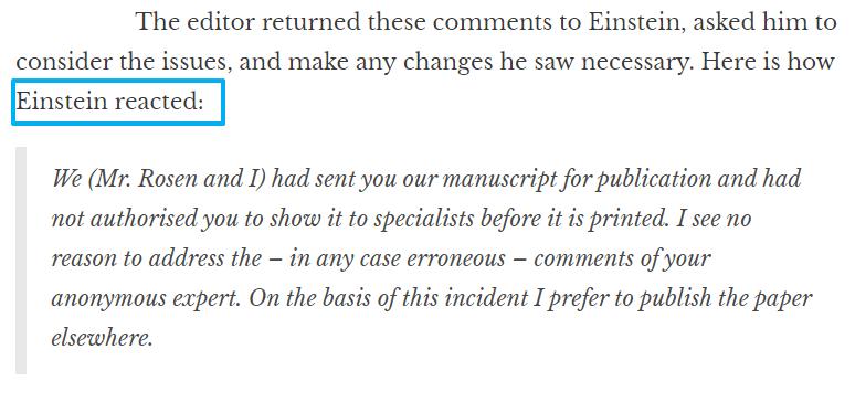 Cita: reacción de Einstein a una revisión de tipo peer review