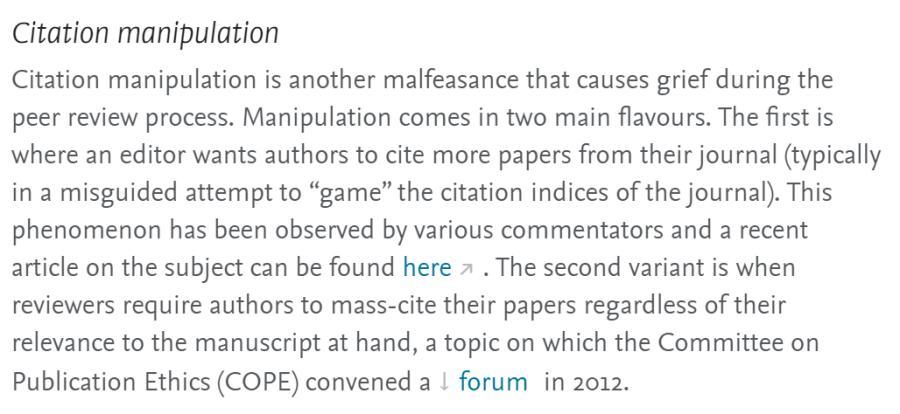 "Cita sobre ""citation manipulation"" en un proceso de peer review."