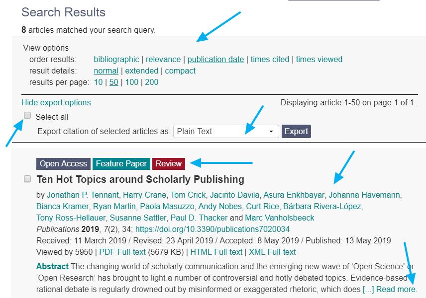 Página de resultados de la plataforma académica  MDPI