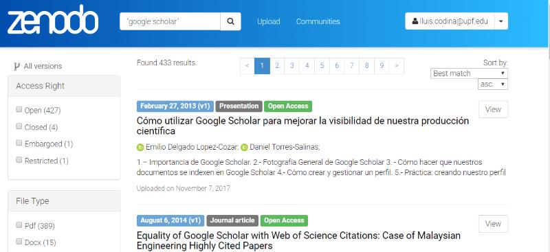 Zenodo OpenAIRE: página de resultados