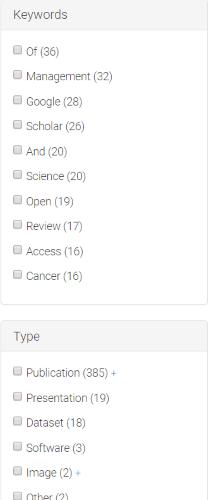 Zenodo: filtros de la página de resultados
