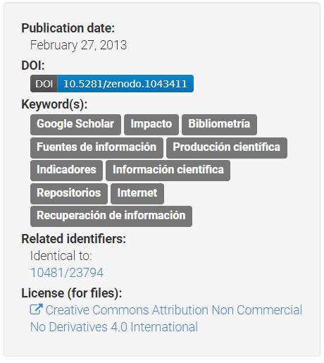 Zenodo: metadatos del registro de un documento