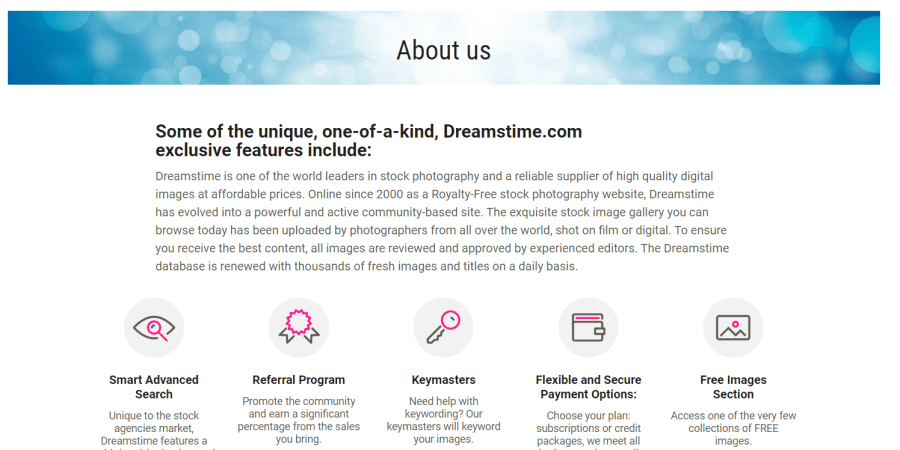 Página About Us de Dreamstime