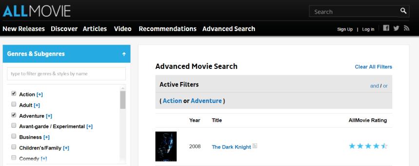 La búsqueda avanzada en AllMovie