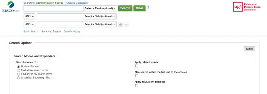 Communication Source: formulario de búsqueda avanzada