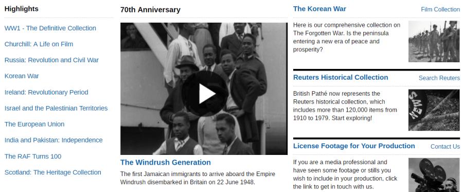 Portal British Pathé. Banco de vídeo