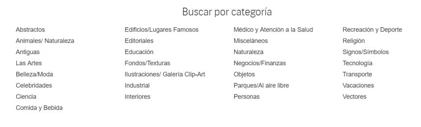 Categorías principales del banco de imágenes Shutterstock