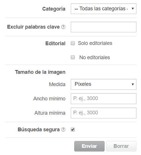 Criterios de filtrado en Shutterstock