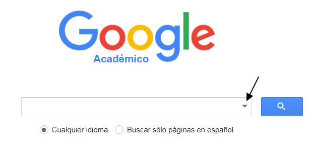 Alertas en Google Scholar: botón de la activación de la búsqueda avanzada