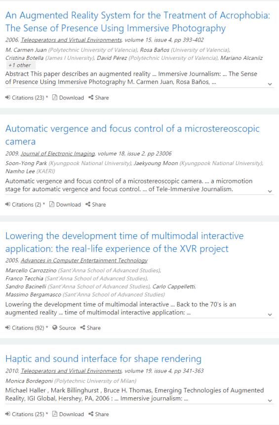 Páginas de resultados de Microsoft Academic