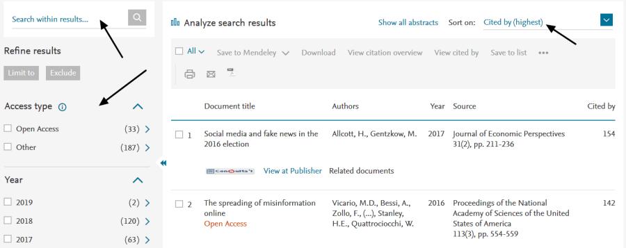 Página de resultados de Scopus