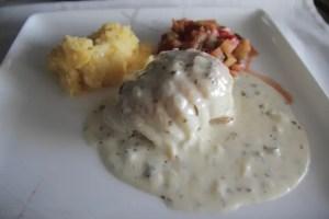 Fish, polenta, & ratatouille