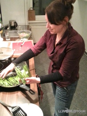 Lisa Cooking up a Storm...or just some green beans