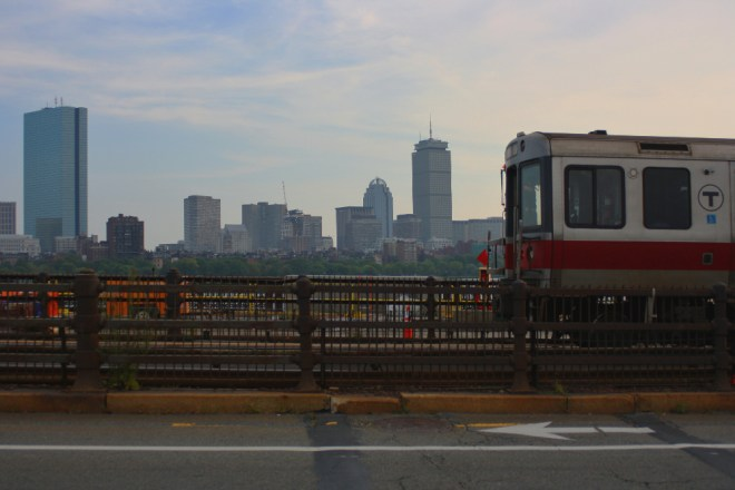 "Boston's subway, the ""T,"" crossing Longfellow Bridge"