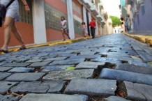 Blueish cobblestone streets made from iron-slag bricks