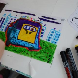 Dessin sur feuille de plastique transparente à partir de la photo