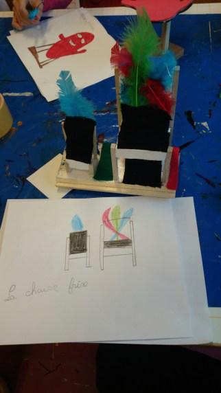 Chaise réalisée + dessin d'observation