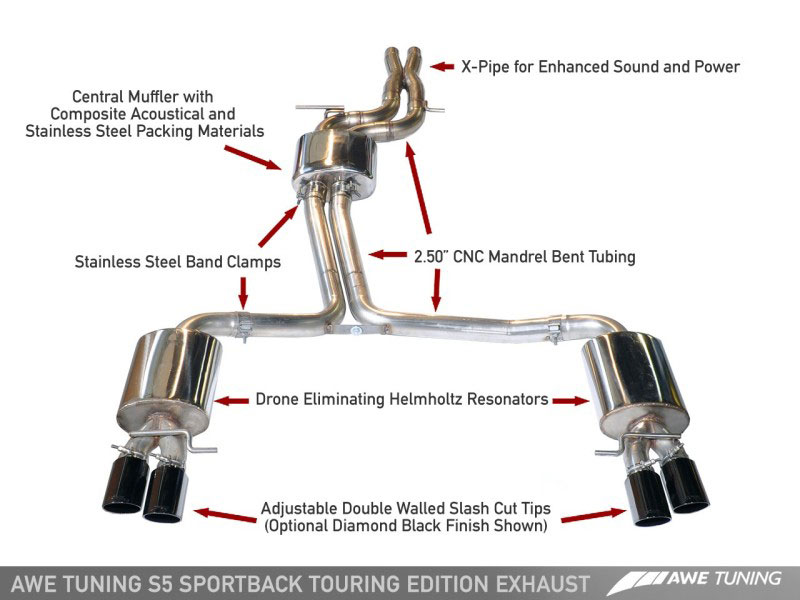 awe tuning 3415 43042 audi s5 sportback 3 0t s5 sportback touring edition exhaust system exhaust non resonated downpipes diamond black tips