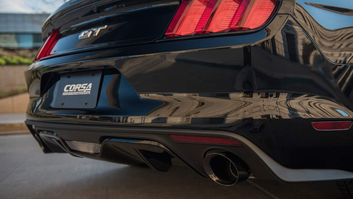 corsa performance 14342blk corsa exhaust mustang gt 5 0l cat back convertible xtreme 3in xpipe single 4 5 black tips 2015 2017