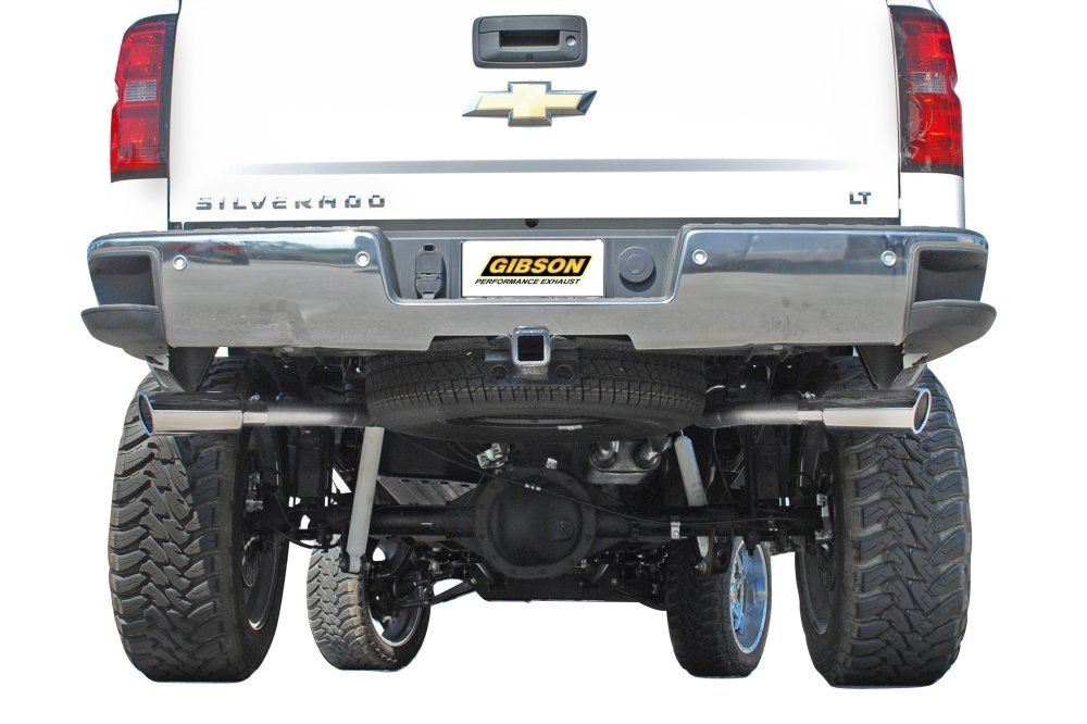 gibson 5662 exhaust silverado 5 3l extreme exhaust cat back with dual split rear exit for crew cab 6 5ft bed 2014 2016