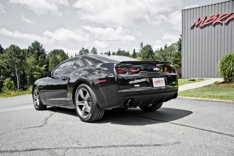 mbrp s7021blk camaro v6 3 muffler delete axle back round black coated tips 2010 2015