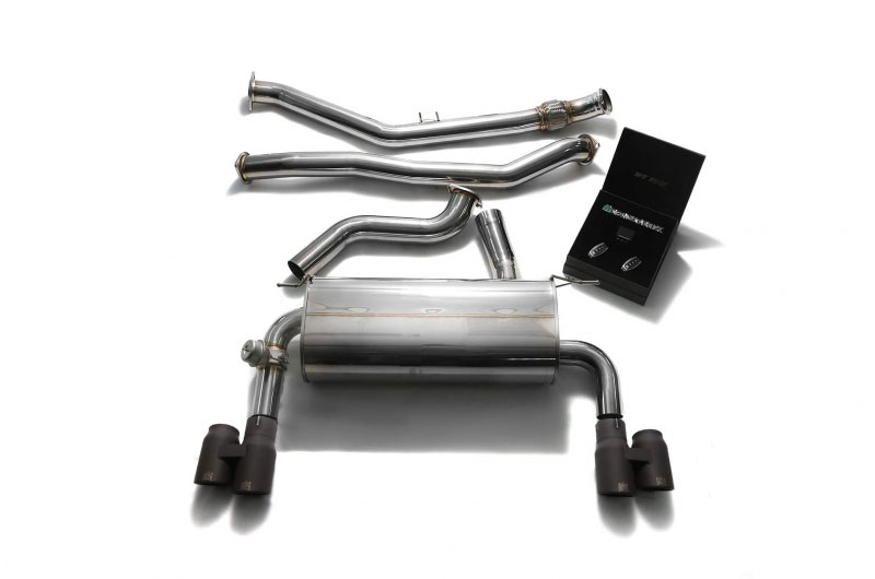 armytrix bmf32 qs42m armytrix stainless steel valvetronic catback exhaust system bmw f30 328i n26 with quad matte black tips 2012 2017