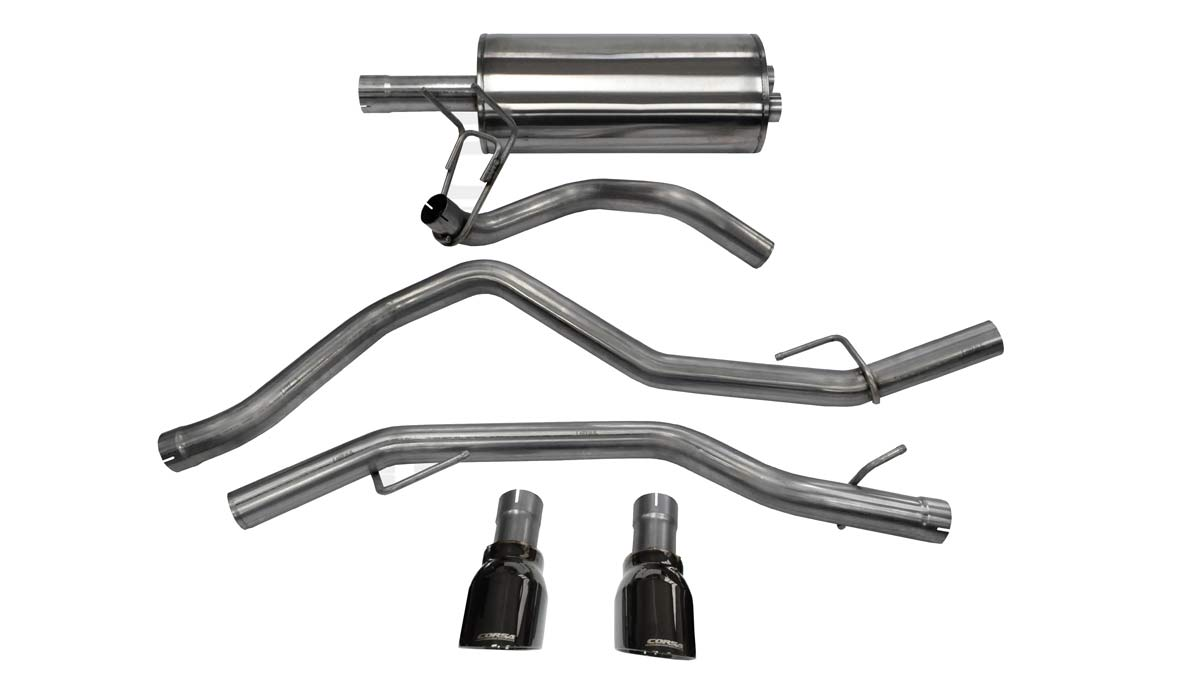 corsa performance 14405blk corsa dodge ram 1500 cat back exhaust crew cab short bed 5 7l v8 sport 3 inch dual rear exit with single 4 5 inch black