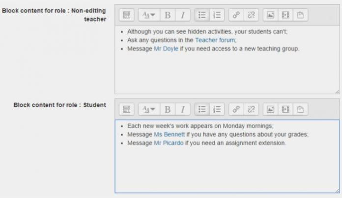HTML Per Role Will Show You Something Depending On Who You Are In Moodle