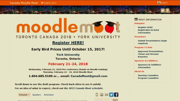 MoodleMoot Canada 2018 'Early Bird' Registration And Call Ends This Sunday, October 15th
