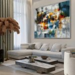 Modern Texture Abstract Contemporary Wall Art Hand Painted Oil Painting On Canvas Extra Large Xxl 60