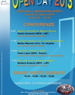 INFN-LNF, Open day ai laboratori INFN di Frascati, Lunedì 22 Aprile ore 9.30 - 19.30