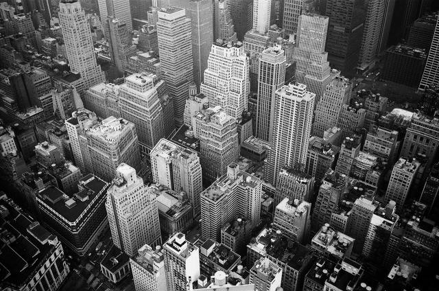 black and white shot of a big city