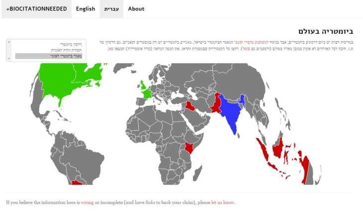 מפת מאגרים ביומטריים בעולם