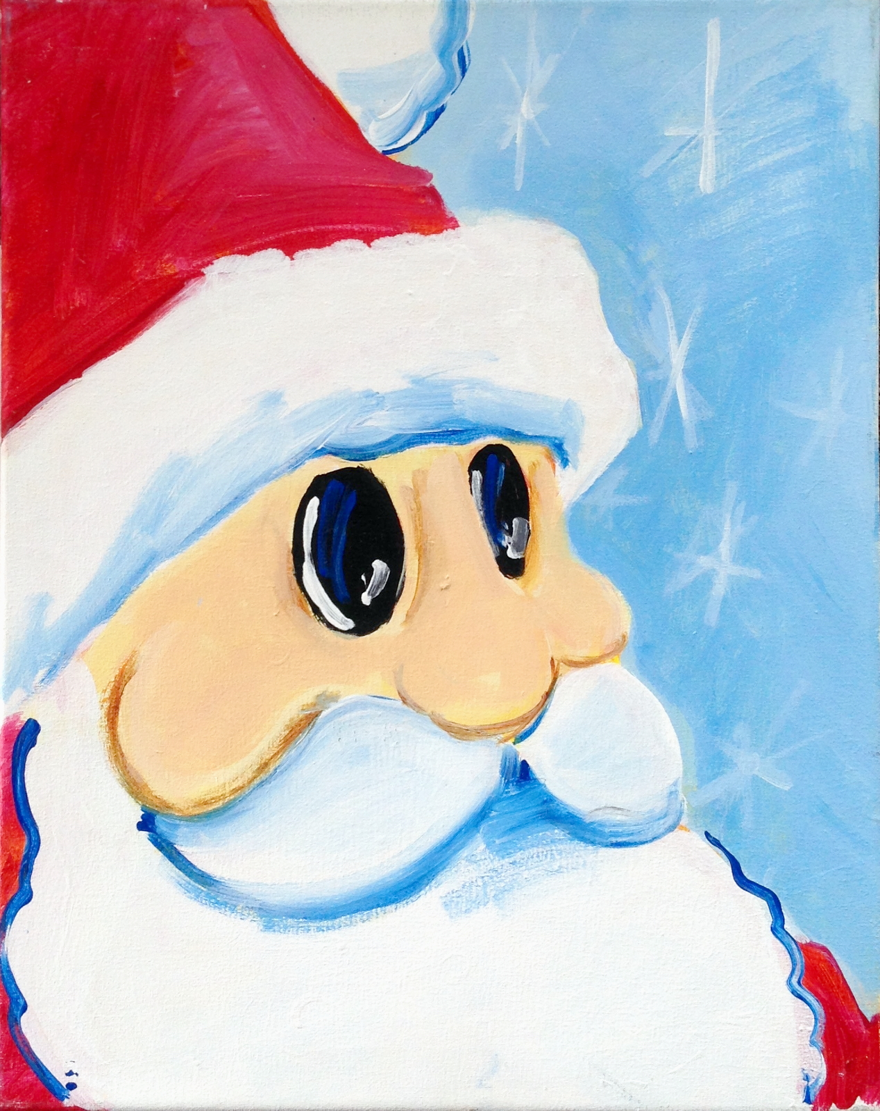 St. Nick | The Loaded Brush Paint & Sip Classes | loadedbrushpdx.com