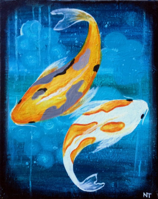 Koi Fish | The Loaded Brush Paint & Sip Classes | www.loadedbrushpdx.com
