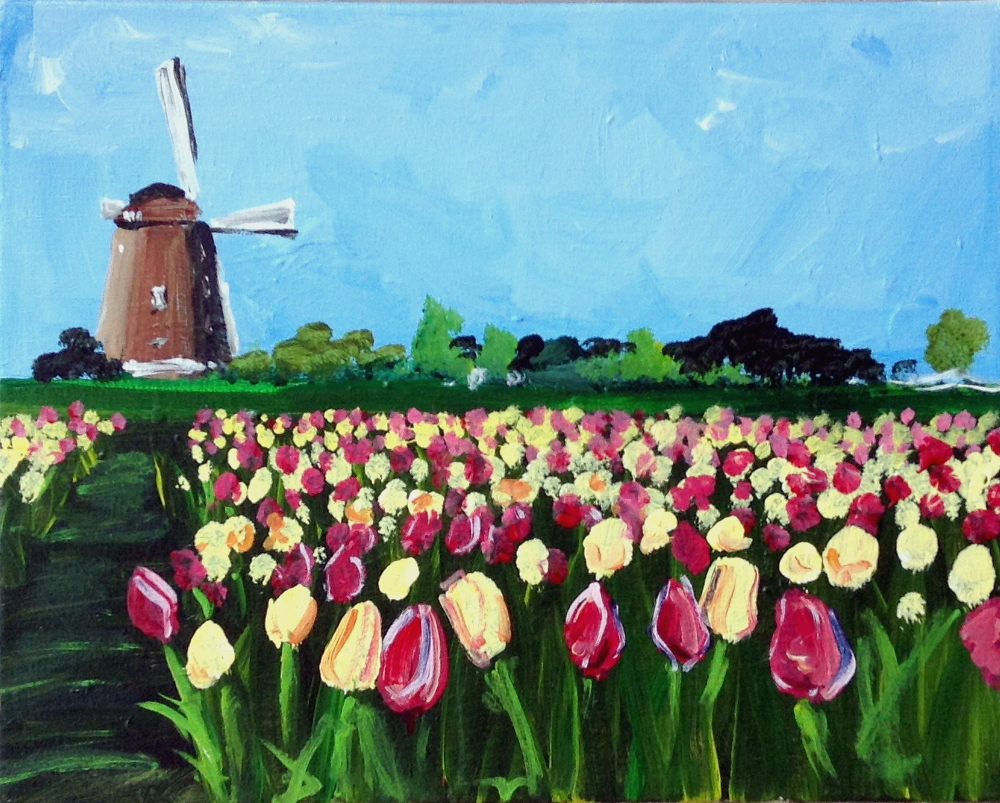 Tulip Fields | The Loaded Brush Paint & Sip Classes | loadedbrushpdx.com