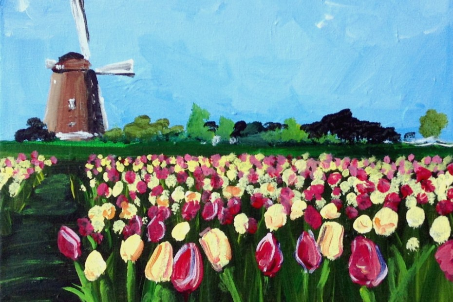 Tulip Fields | The Loaded Brush Paint & Sip Classes | loadedbrushpdx.com