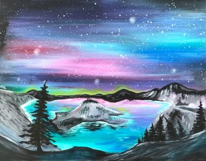 Crater Lake | The Loaded Brush Paint & Sip Classes | loadedbrushpdx.com