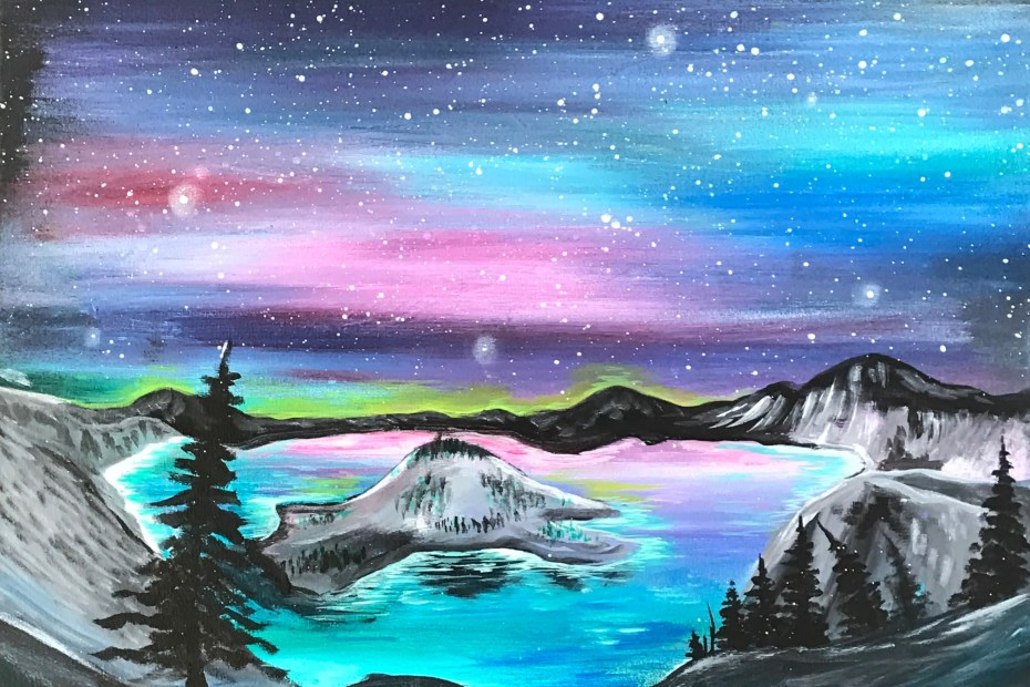 Crater Lake | The Loaded Brush Paint & Sip Classes | loadedbrushpdx.com