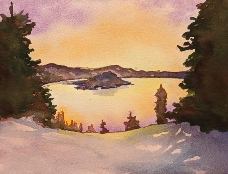 Watercolor Online Course | Crater Lake | Part 1 | loadedbrushpdx.com