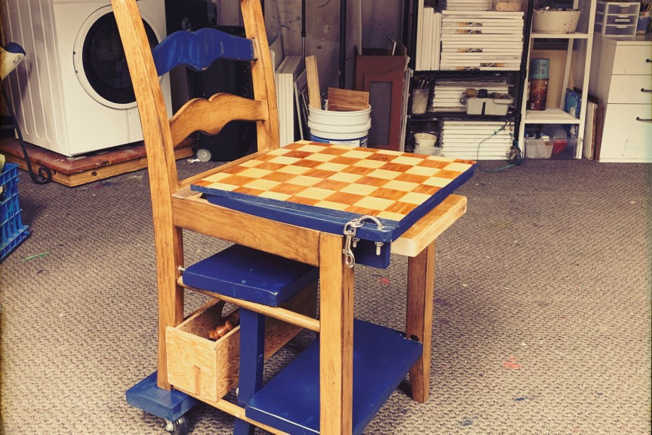 Rebuilding Project: Chair/Stepstool/ChessTable Combo | The Loaded Brush | www.loadedbrushpdx.com