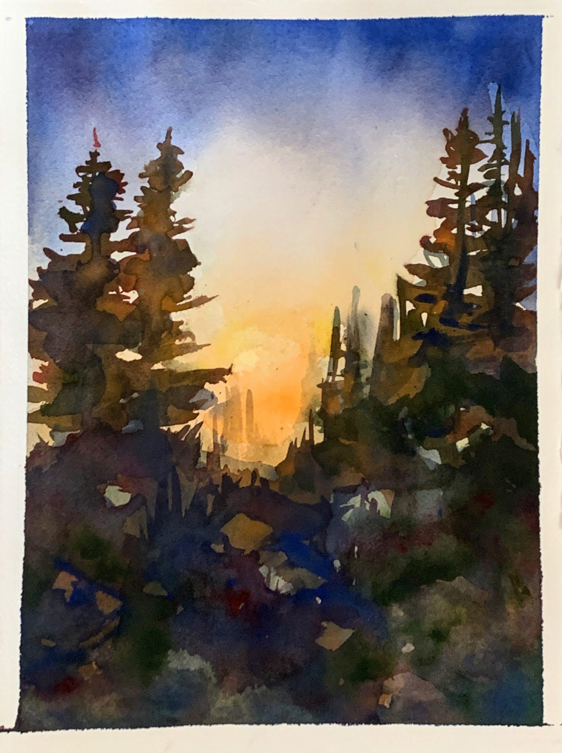 Watercolor ~ Colorado Sunset | The Loaded Brush Paint & Sip Classes | loadedbrushpdx.com