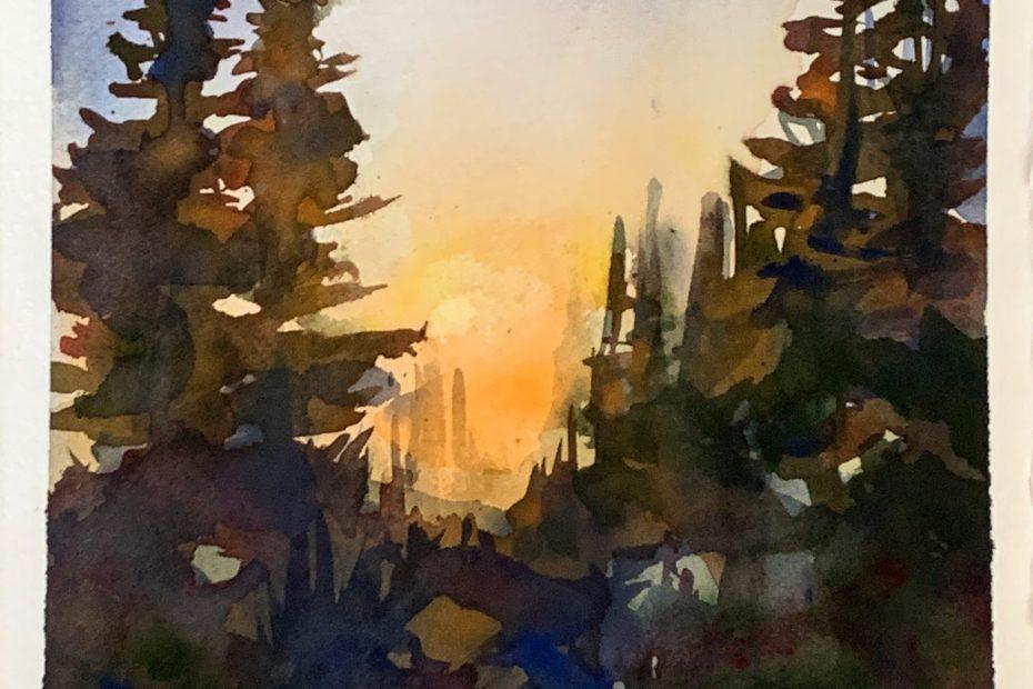 Watercolor ~ Colorado Sunset   The Loaded Brush Paint & Sip Classes   loadedbrushpdx.com
