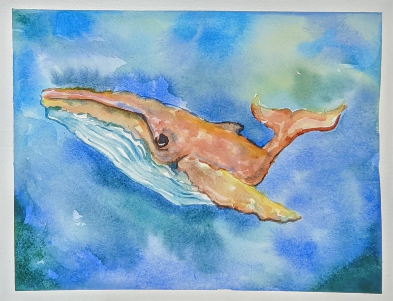Humpback Watercolor Whale | The Loaded Brush - Paint & Sip Classes | www.loadedbrushpdx.com