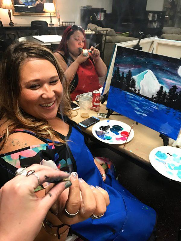 Paint & Puff | The Loaded Brush Art Bar & Studio | www.loadedbrushpdx.com