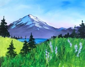 Mt Hood Landscape | The Loaded Brush Paint & Sip Classes | loadedbrushpdx.com
