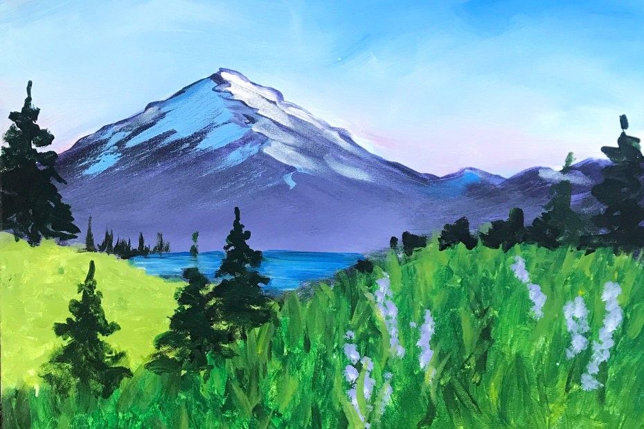 Mt Hood Landscape | The Loaded Brush Paint & Sip Classes | loadedbrushpdx.com